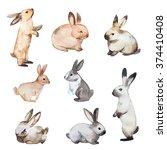set of easter rabbits. hand... | Shutterstock . vector #374410408