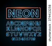 Vector Blue Neon Lamp Letters...