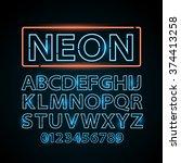 Vector Blue Neon Lamp Letters...