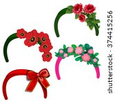 the headband with flowers.... | Shutterstock .eps vector #374415256