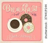 vintage breakfast poster.... | Shutterstock .eps vector #374419144