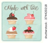 colorful vector cupcakes | Shutterstock .eps vector #374420218