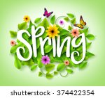 spring title text with vector... | Shutterstock .eps vector #374422354