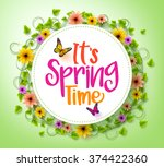 spring time in a white circle... | Shutterstock .eps vector #374422360
