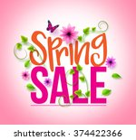 spring sale design with... | Shutterstock .eps vector #374422366