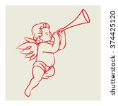retro angel vector blowing... | Shutterstock .eps vector #374425120
