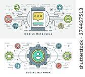 flat line social media and...   Shutterstock .eps vector #374437513