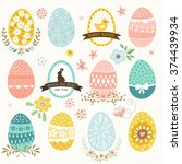 happy easter set with eggs ... | Shutterstock .eps vector #374439934