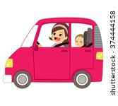 beautiful young mom driving... | Shutterstock .eps vector #374444158