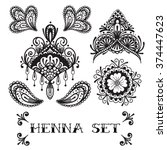 vector black and white henna set | Shutterstock .eps vector #374447623