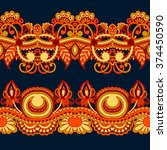 vector set of vintage floral... | Shutterstock .eps vector #374450590
