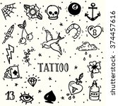 set of old school tattoos. hand ... | Shutterstock .eps vector #374457616