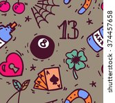 old school tattoos seamless... | Shutterstock .eps vector #374457658