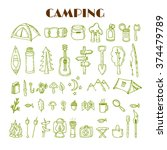 Set of hand drawn camping and hiking equipment. Travel and vacation doodle collection. Hike icons. Vector illustration