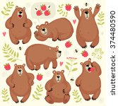 set of illustrations with bears.... | Shutterstock .eps vector #374480590