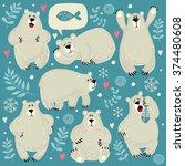 set of illustrations with polar ... | Shutterstock .eps vector #374480608