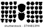 vector black shields set ... | Shutterstock .eps vector #374481394