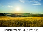 beautiful sunrise over yellow... | Shutterstock . vector #374494744