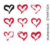 ink hearts card. set of 9 hand...   Shutterstock .eps vector #374497324