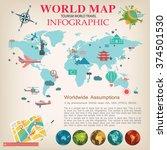 world map info graphic vector. | Shutterstock .eps vector #374501530