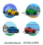vector car icons. flat style... | Shutterstock .eps vector #374511904