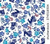hibiscus orient lion pattern | Shutterstock .eps vector #374518504