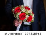 wedding flowers  groom holds... | Shutterstock . vector #374518966