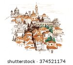 watercolor cityscape with... | Shutterstock . vector #374521174