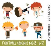 football kids. children sports... | Shutterstock .eps vector #374527360