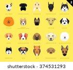 Stock vector dog faces icon cartoon 374531293