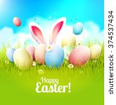 easter greeting card with... | Shutterstock .eps vector #374537434