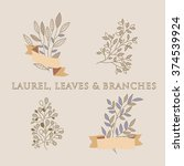 hand drawn vector set of... | Shutterstock .eps vector #374539924