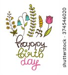 beautiful happy birthday... | Shutterstock .eps vector #374546020