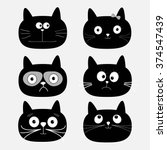 Stock vector cute black cat head set funny cartoon characters white background isolated flat design vector 374547439