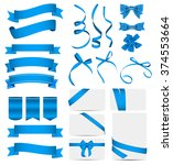 blue ribbon and bow set. vector ... | Shutterstock .eps vector #374553664