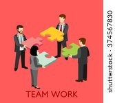 flat 3d teamwork of micro... | Shutterstock .eps vector #374567830