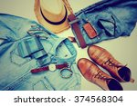 men's casual outfits with... | Shutterstock . vector #374568304