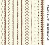 hand drawn art line border set... | Shutterstock . vector #374572969