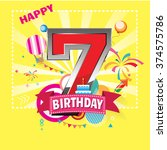 happy birthday 7 date   fun... | Shutterstock .eps vector #374575786