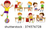children at their desks... | Shutterstock .eps vector #374576728