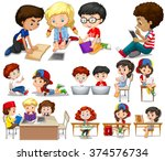 children reading and learning... | Shutterstock .eps vector #374576734