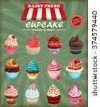 vintage cupcake poster design... | Shutterstock .eps vector #374579440