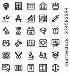 school line icon set. pixel... | Shutterstock .eps vector #374583394