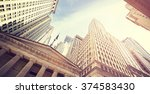 vintage toned wall street at... | Shutterstock . vector #374583430
