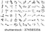 vector hand drawn arrows set... | Shutterstock .eps vector #374585356