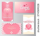 valentine's day business card ... | Shutterstock .eps vector #374589028
