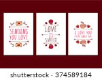 set of saint valentines day... | Shutterstock .eps vector #374589184