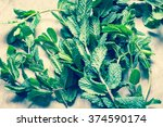 pepper mint bunch toned photo | Shutterstock . vector #374590174