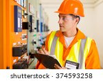 handsome electrical engineer... | Shutterstock . vector #374593258