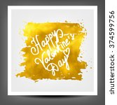 golden banner happy valentine...   Shutterstock . vector #374599756
